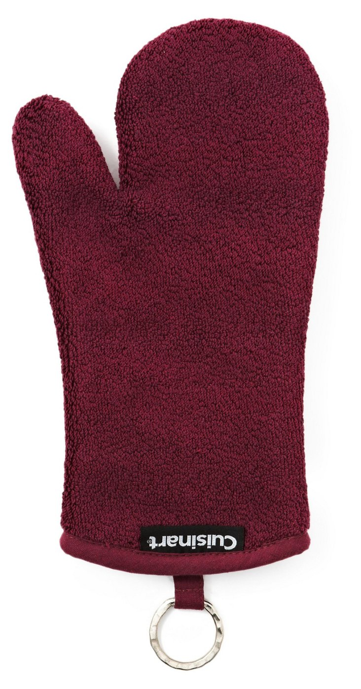 S/2 Terry Oven Mitts, Maroon