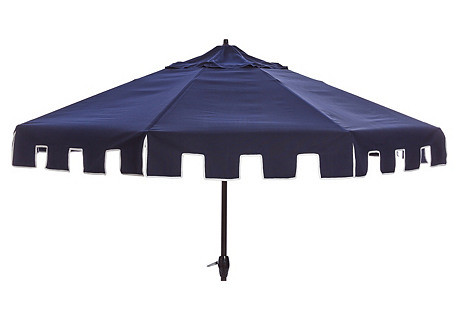 Poppy Greek Key Patio Umbrella, Navy