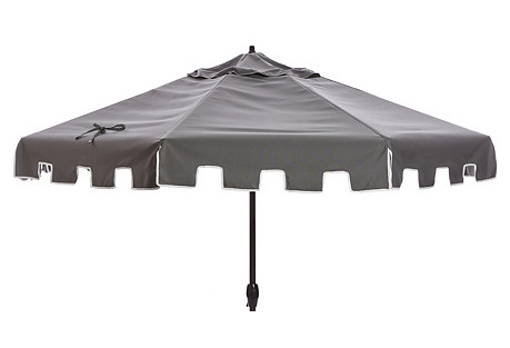 Poppy Greek Key Patio Umbrella, Charcoal
