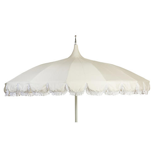 Aya Pagoda Fringe Patio Umbrella, White