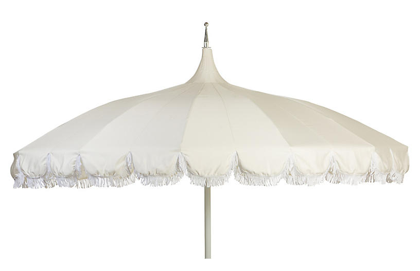 Aya Pagoda Fringe Patio Umbrella, White