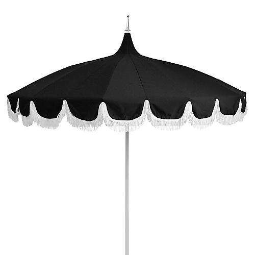 Aya Pagoda Fringe Patio Umbrella, Black