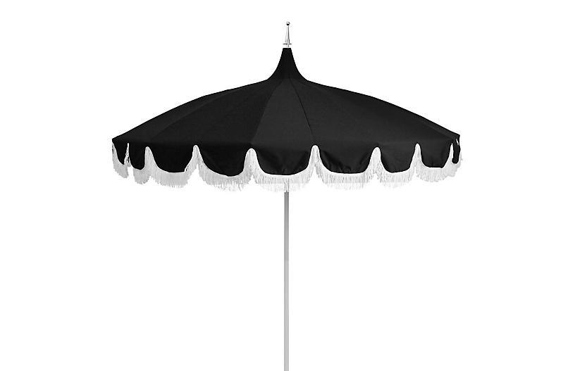 Aya Pagoda Fringe Patio Umbrella, Black