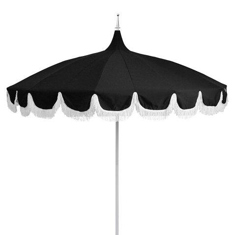 Aya Pagoda Fringe Patio Umbrella, Black - One Kings Lane Outdoor ...