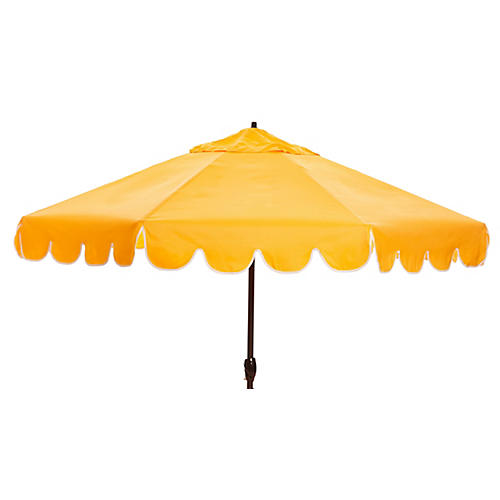 Phoebe Scallop-Edge Patio Umbrella, Yellow