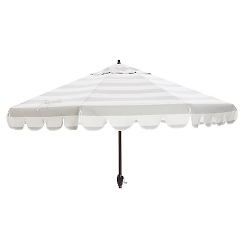 Phoebe Scallop-Edge Patio Umbrella, Gray/White