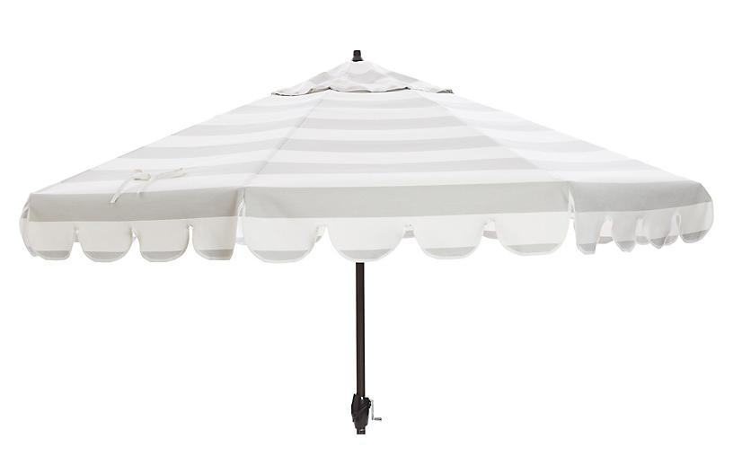 Phoebe Scallop-Edge Patio Umbrella, Gray/White
