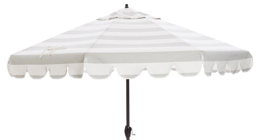 Phoebe Scallop Edge Patio Umbrella Gray White Umbrellas Stands Outdoor Furniture One Kings Lane