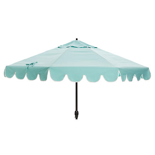 Phoebe Scallop-Edge Patio Umbrella, Glacier/White