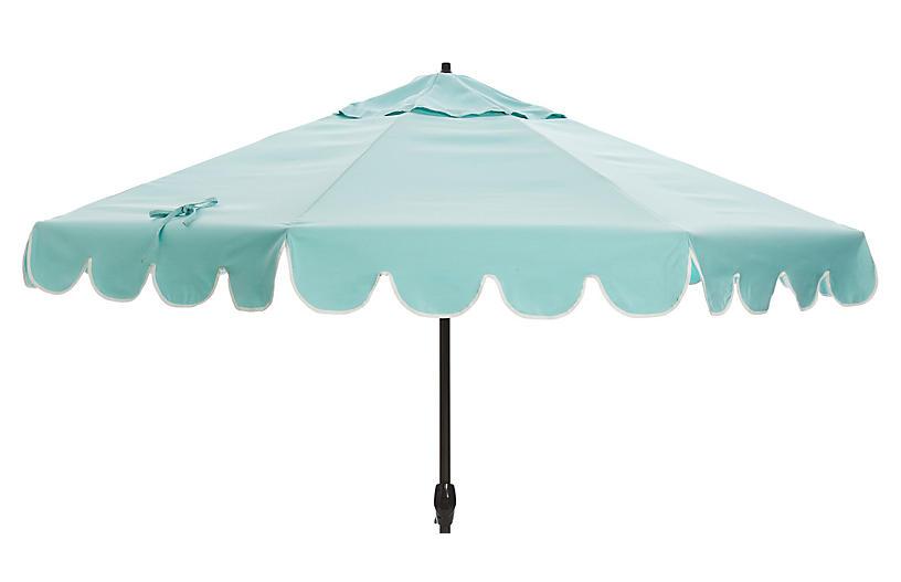 Phoebe Scallop-Edge Patio Umbrella, Glacier/White
