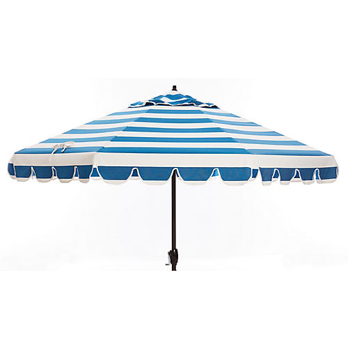 Phoebe Scallop-Edge Patio Umbrella, Regatta Blue