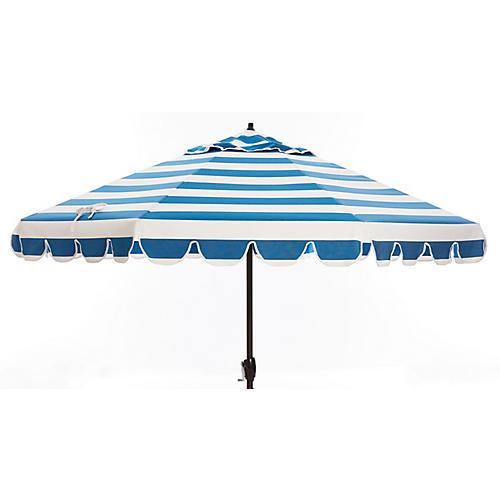 Phoebe Scallop-Edge Patio Umbrella, Regatta Blue