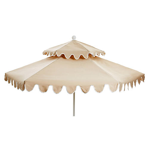 Daiana Two-Tier Patio Umbrella, Beige/White