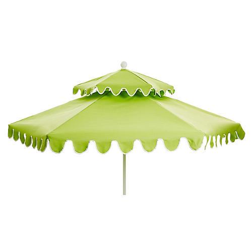 Daiana Two-Tier Patio Umbrella, Green/White