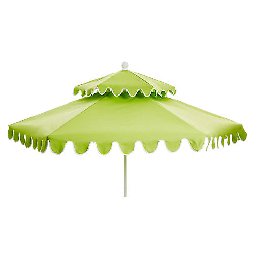 Daiana Two-Tier Patio Umbrella, Green/White