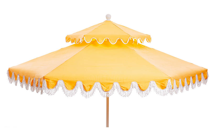 Daiana Two-Tier Fringe Patio Umbrella, Yellow