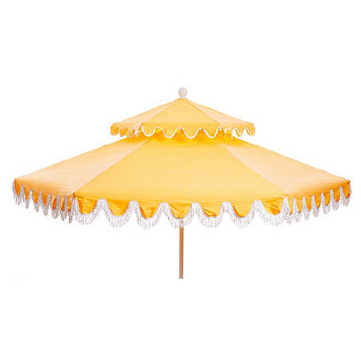 Daiana Two-Tier Fringe Patio Umbrella, Yellow