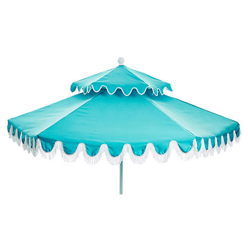 Daiana Two-Tier Fringe Patio Umbrella, Aqua