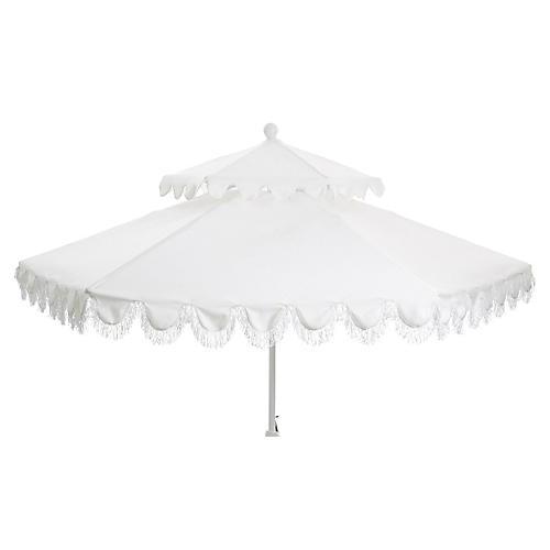 Daiana Two-Tier Fringe Patio Umbrella, White