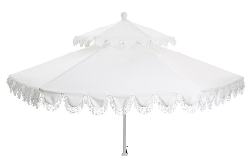 Daiana Two-Tier Fringe Patio Umbrella, White