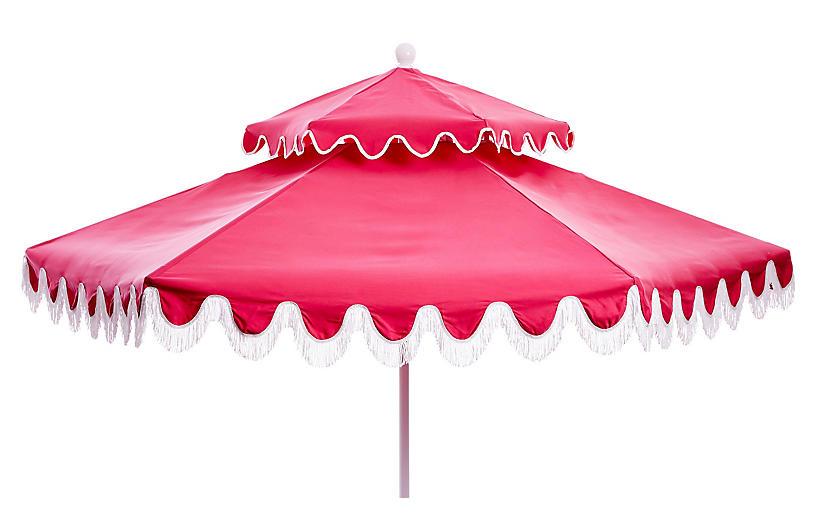 Daiana Two-Tier Fringe Patio Umbrella, Pink