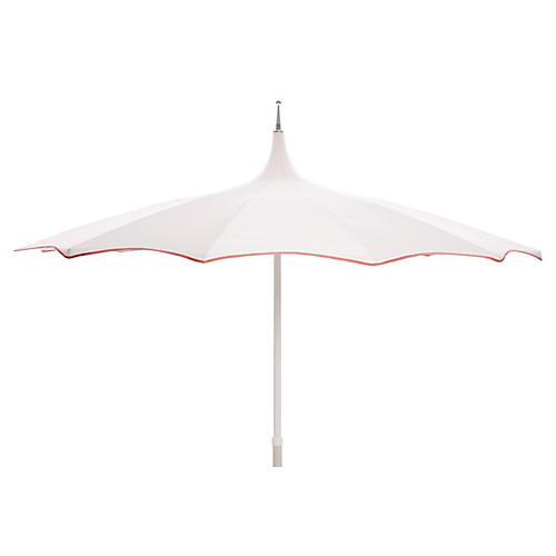 Tali Patio Umbrella, White/Coral