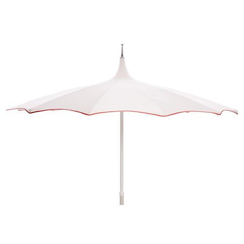 Tali Patio Umbrella, White/Coral