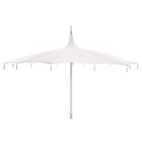 Rena Tassel Patio Umbrella, White Sunbrella