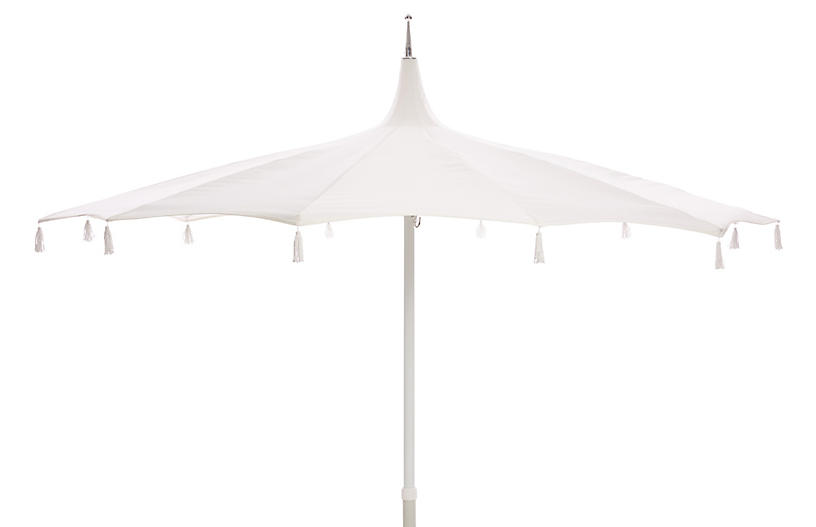Rena Tassel Patio Umbrella, White
