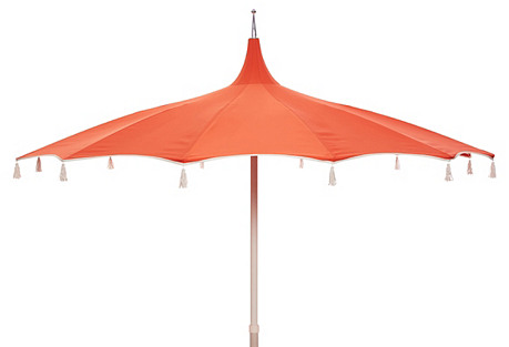 Rena Pagoda Tassel Patio Umbrella, Melon/White