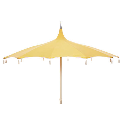 Rena Tassel Patio Umbrella, Light Yellow