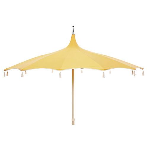 Rena Tassel Patio Umbrella, Light Yellow
