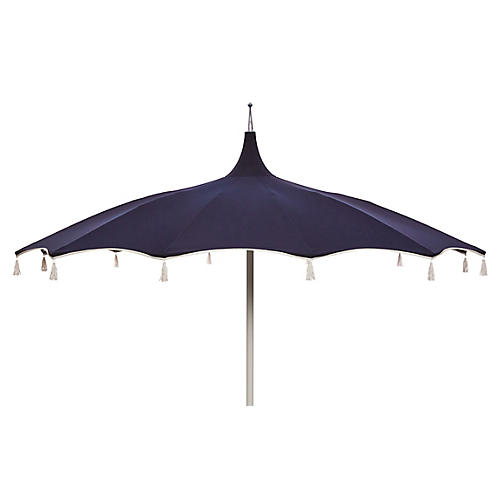 Rena Tassel Patio Umbrella, Navy