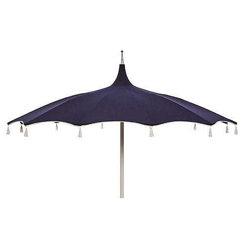 Rena Tassel Patio Umbrella, Navy