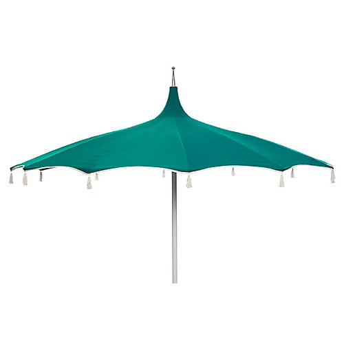 Rena Tassel Patio Umbrella, Teal