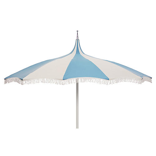 Ari Pagoda Fringe Patio Umbrella, Light Blue/White