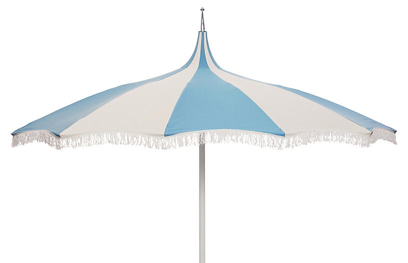 Ari Pagoda Fringe Patio Umbrella Light Blue White