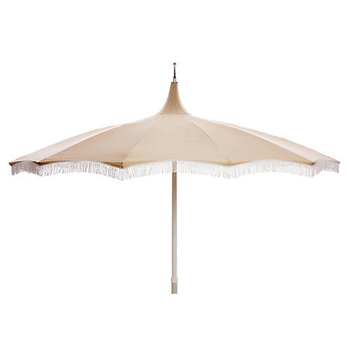 Ari Pagoda Fringe Patio Umbrella, Beige/White