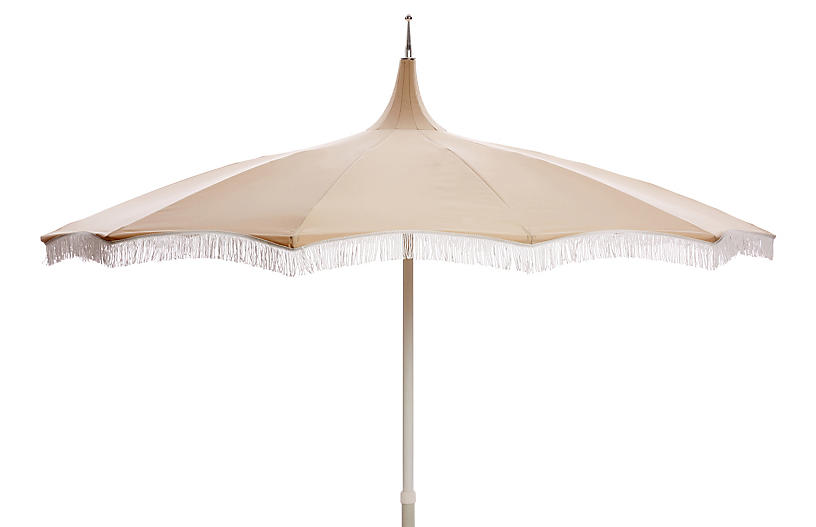 Ari Pagoda Fringe Patio Umbrella, Beige/White