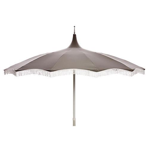 Ari Pagoda Fringe Patio Umbrella, Charcoal/White