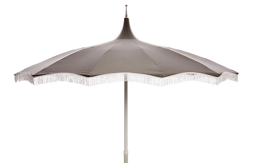 Ari Pagoda Fringe Patio Umbrella, Charcoal/White