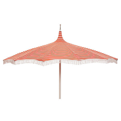 Ari Pagoda Fringe Patio Umbrella, Orange/White