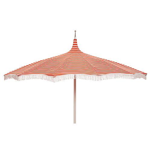 Ari Pagoda Fringe Patio Umbrella, Orange/White
