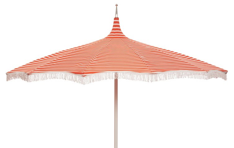 Ari Paa Fringe Patio Umbrella Orange White One Kings Lane Outdoor Brands