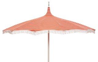 Charming Ari Pagoda Fringe Patio Umbrella, Orange/White   One Kings Lane Outdoor    Brands | One Kings Lane