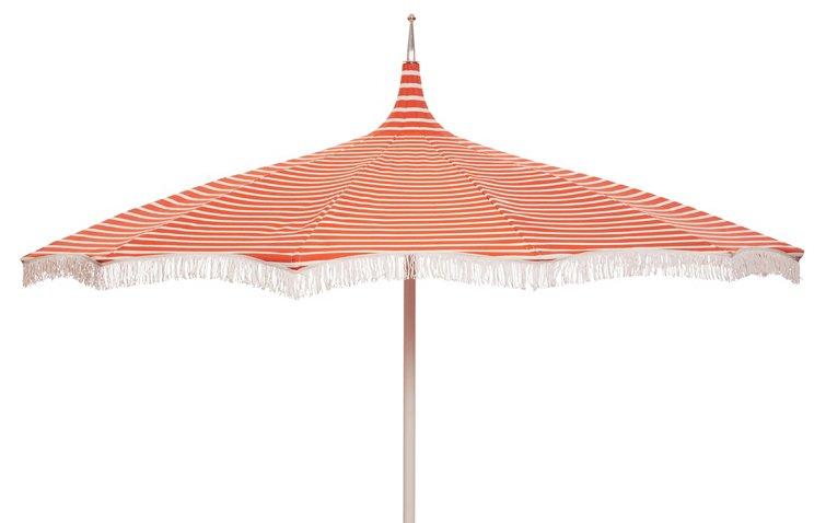Ari Pagoda Fringe Patio Umbrella, Orange/White - One Kings Lane ...