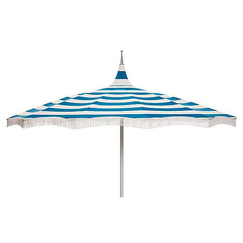 Ari Pagoda Fringe Patio Umbrella, Regatta Blue