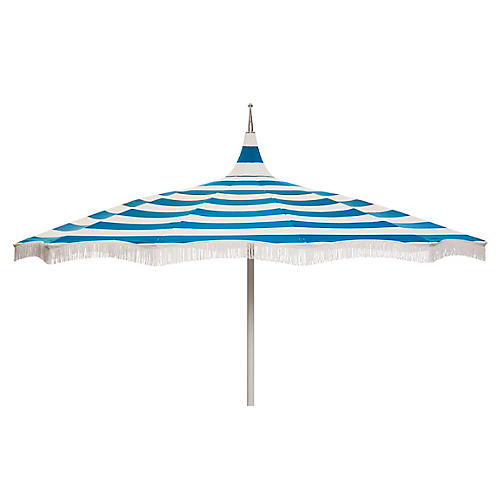 Ari Pagoda Fringe Patio Umbrella, Regatta Blue