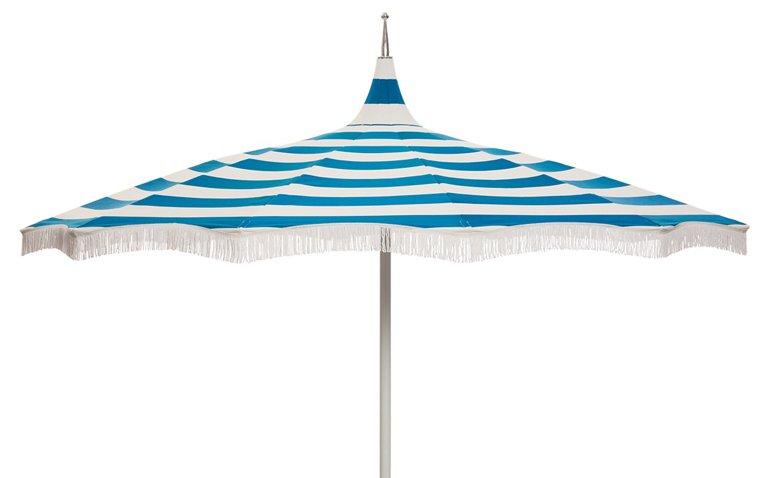 Ari Pagoda Fringe Patio Umbrella, Regatta Blue - One Kings Lane ...