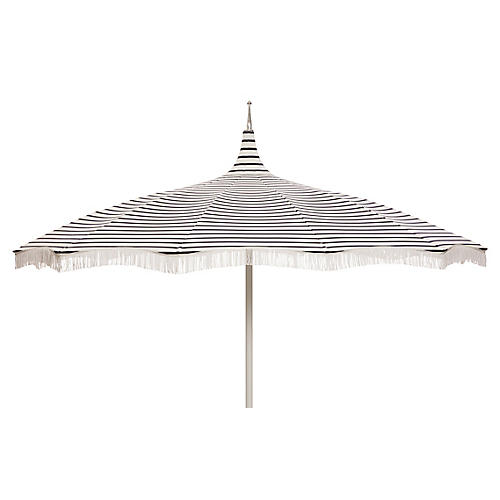 Ari Pagoda Fringe Patio Umbrella, Indigo/White